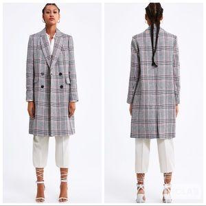 NWT • Zara • Plaid Double Breasted Coat